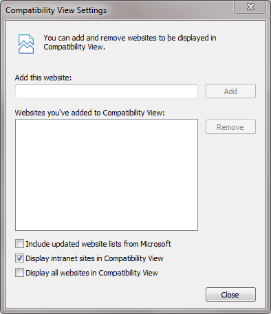 IE's very conservative default intranet settings