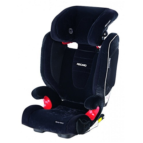 A booster seat with integrated loudspeakers.