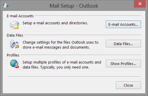 Control panel mail settings