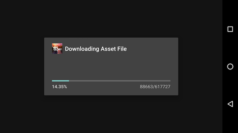 Vain Glory downloading asset file.
